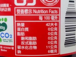 台湾コカコーラの栄養表示